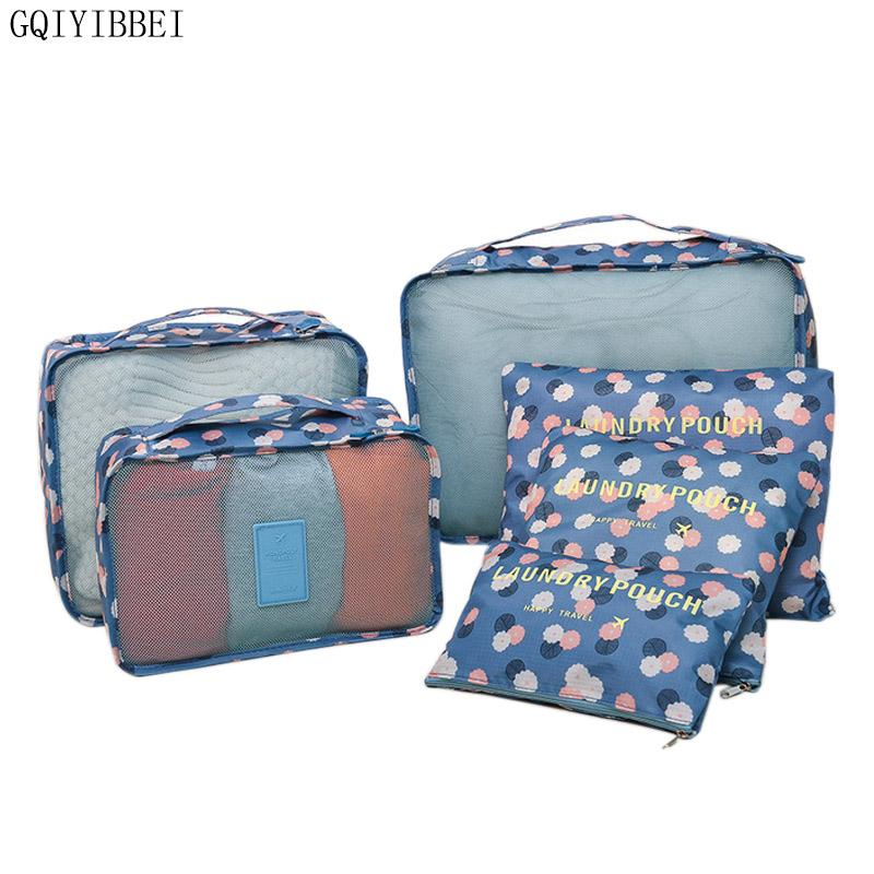 38060440d7d9 GQIYIBBEI 6PCS/Set High Quality Oxford Cloth Travel Mesh Bag Luggage  Organizer Folding Packing Cube Organiser Travel Storage Bag
