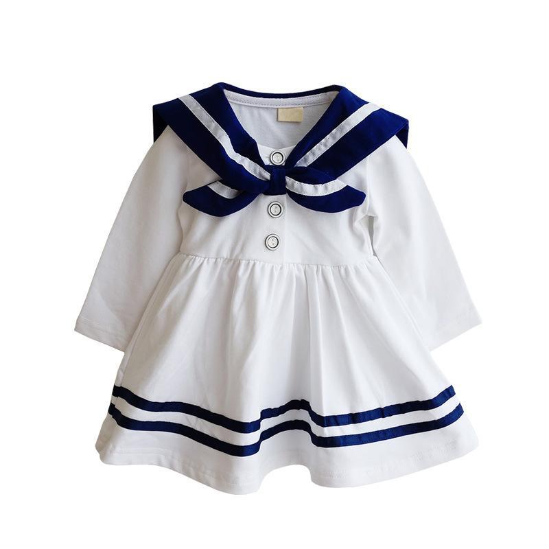 Anlencool Fashion Spring Korean girls navy sailor suit dress 2017 Brand new summer child college wind girls dress Baby clothing