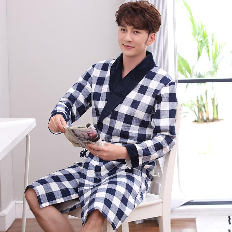 942b6f7577 2019 Bath Robe New Arrival Men Plaid Winter Thick Cotton Long ...