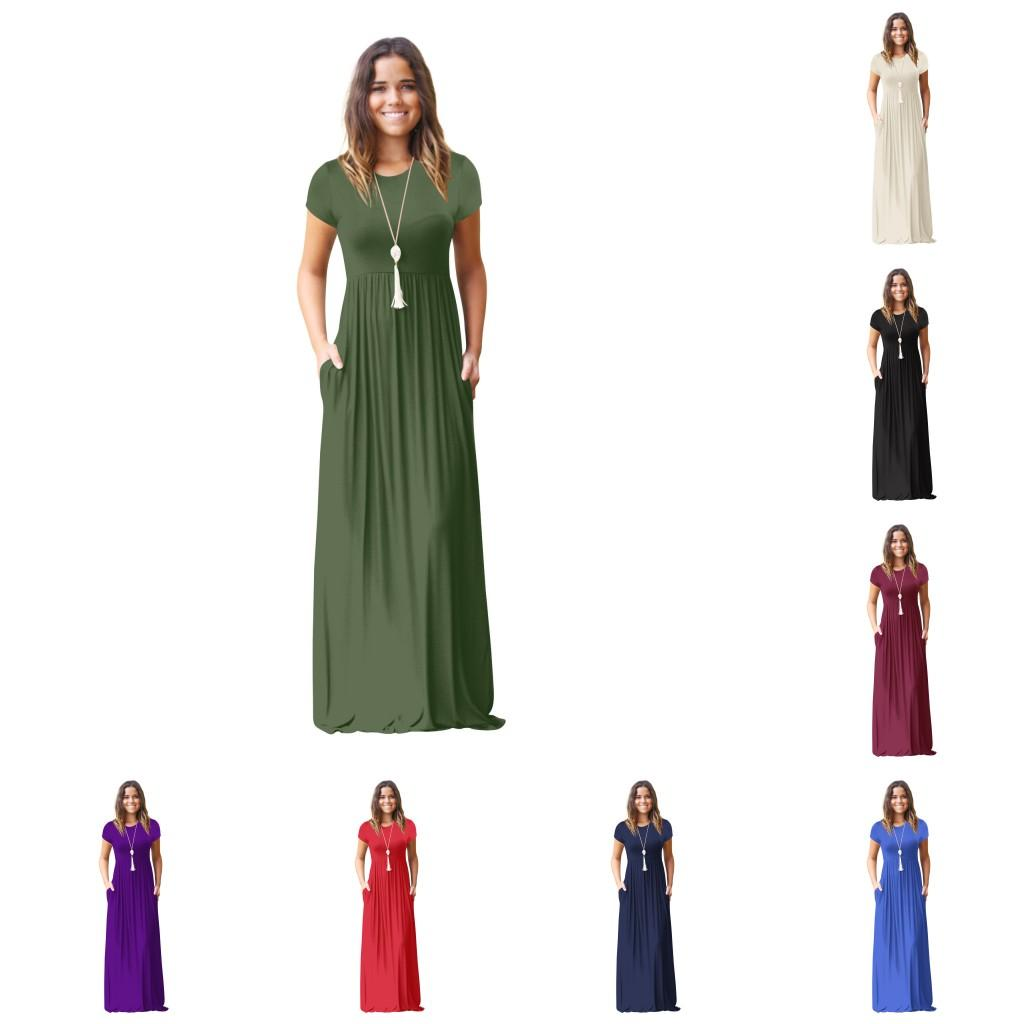 df9dbac0ee0f Fashion Clothing 2018 Summer Women S Short Sleeve Loose Plain Maxi Dresses  Casual Long Dresses With Pockets 102 Cocktail Dresses Teenagers Floral  Dresses ...