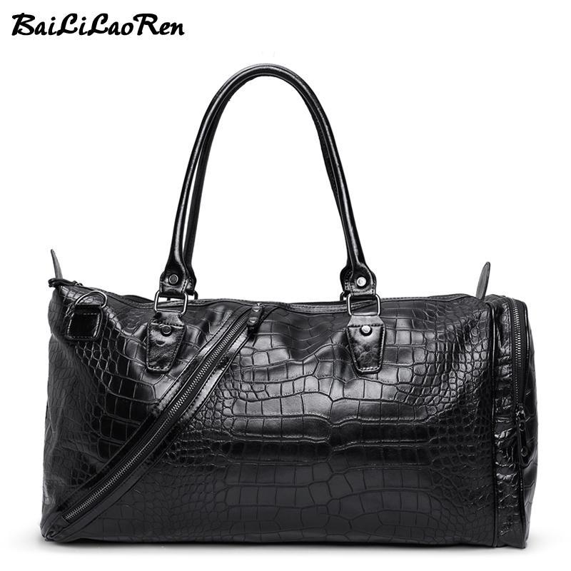 d1c323ae01 BaiLiLaoRen Brand Men Travel Bags Leather Travel Handbags Luggage ...