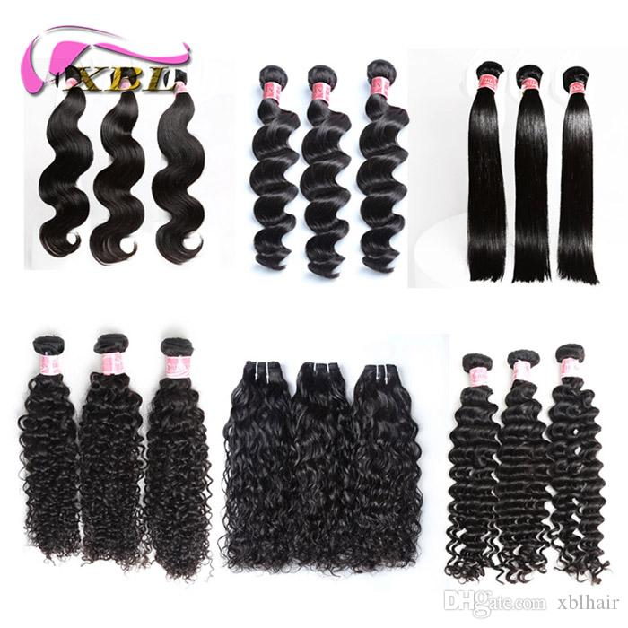 xblhair perruque cheveux humain all different human hair bundles texture one bag within 3/4 bundles