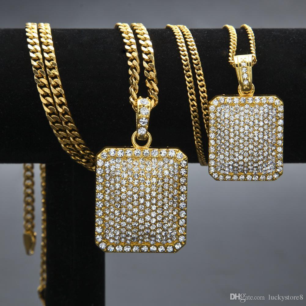 2018 Mens Hip Hop Catena dei monili di modo Piena di strass Collane con pendente Gold Filled Hiphop Zodiac Jewelry Uomini Collana a catena cubana Dog Tag
