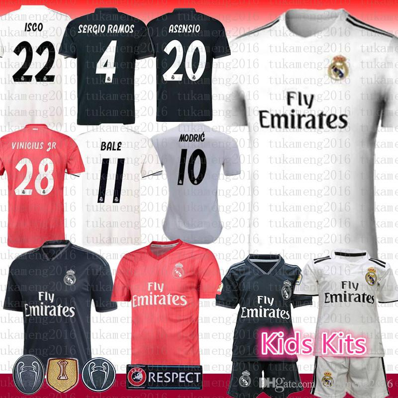 55081b75c50 2019 2018 New Real Madrid Soccer Jersey 4 Ramos 20 Asensio 17 Aspas 22  Alarcon 8 Kroos 28 VINICIUS JR. 11 Bale 12 MARCELO Benzema Football Shirts  From ...