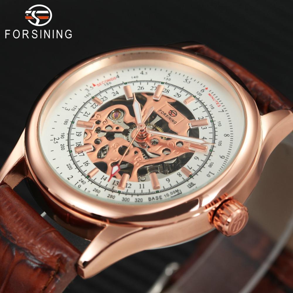 f8e543e049b Compre FORSINING Clássico Retro Esqueleto Homens Relógios Mecânicos Rose  Banda De Couro Dourado Mãos Luminosas Top Marca De Luxo Relógio De Mão Vento  De ...