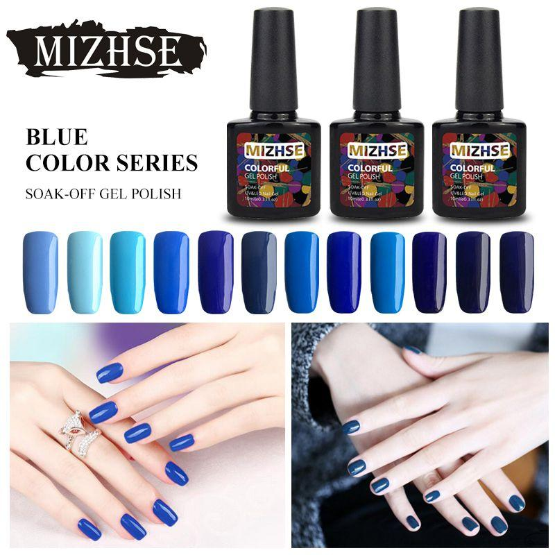 MIZHSE 10ML Soak Off UV Gel Nail Polish Blue Series Paint Gellak Hybrid  Varnish Fast Dry Nail Gel Polish Set 12 Bottles Full Set
