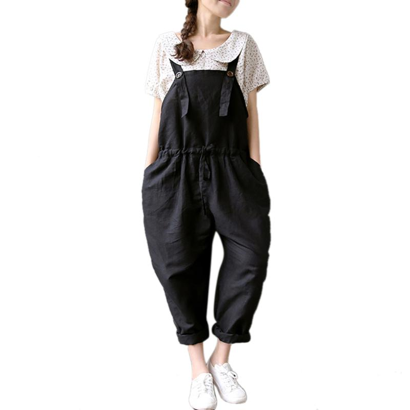 Women Solid Plus Size Straps Jumpsuit Ladies Casual Loose Sleeveless Vintage Drawstring Waist Wide Leg Harem Pants Rompers