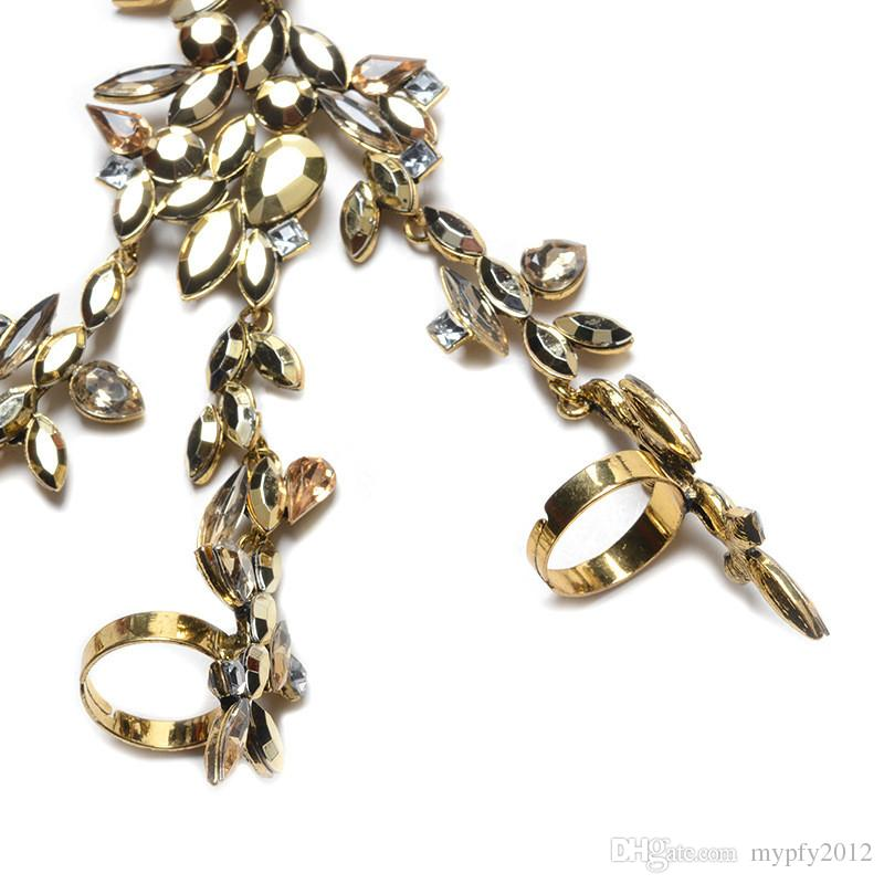 Nouvelle déclaration de mariage strass Bague Bracelets pour les femmes de cristal Bangle Charm Bijoux Cadeaux 4 Couleurs