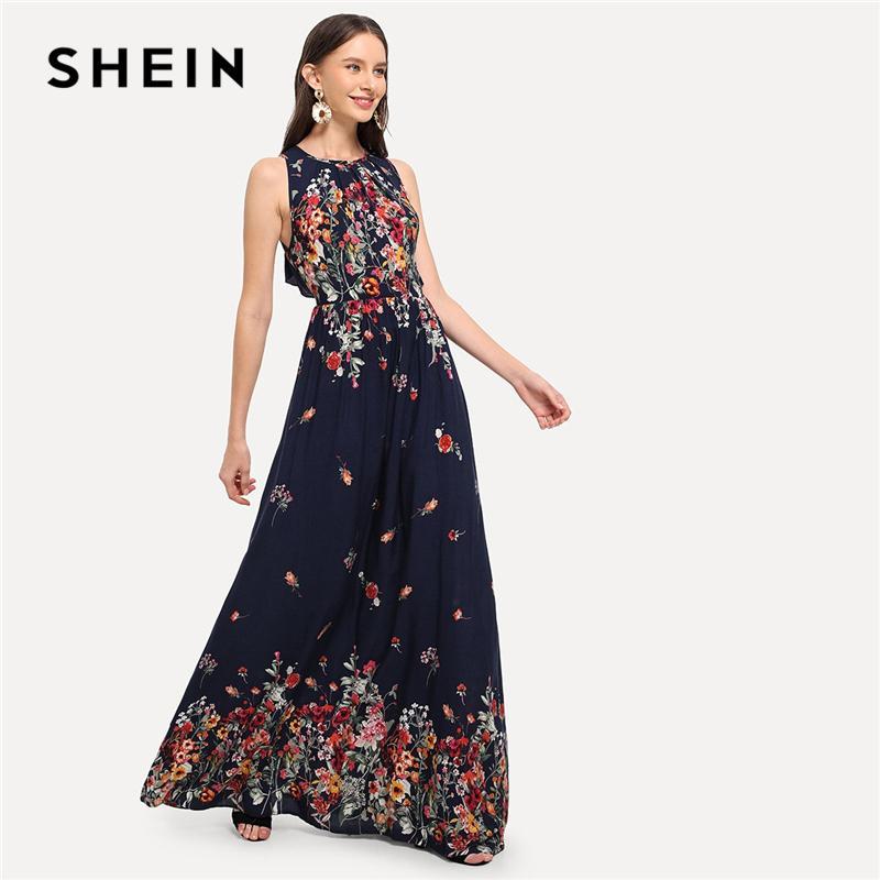 068f4d644a40 2019 SHEIN Navy Cotton Sleeveless Elegant High Waist Knot Back Ruffle Trim  Botanical Maxi Dress Autumn Modern Lady Women Dresses From Linglon, ...