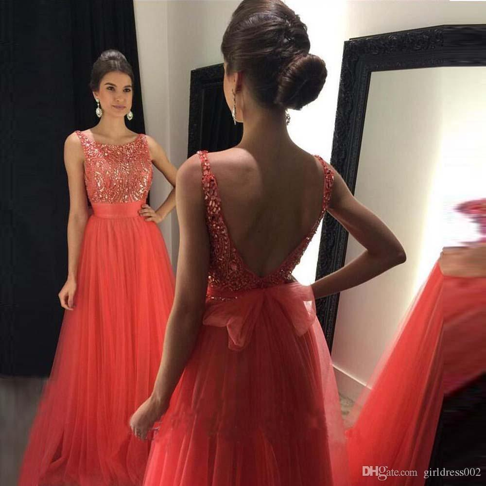 New Beaded Sexy Backless A Line Evening Dresses 2018 New Arrival ...