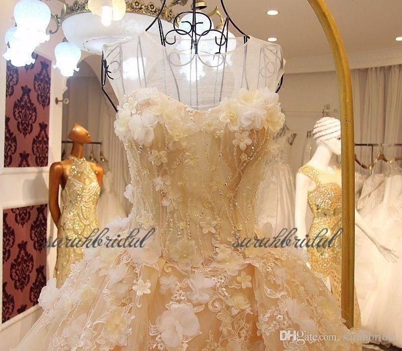 2019 neue garten gelb Spitze Brautkleider Brautkleider blumen Tüll Schatz schnüren Zurück maßgeschneiderte Ballkleid langen zug Erröten Rosa