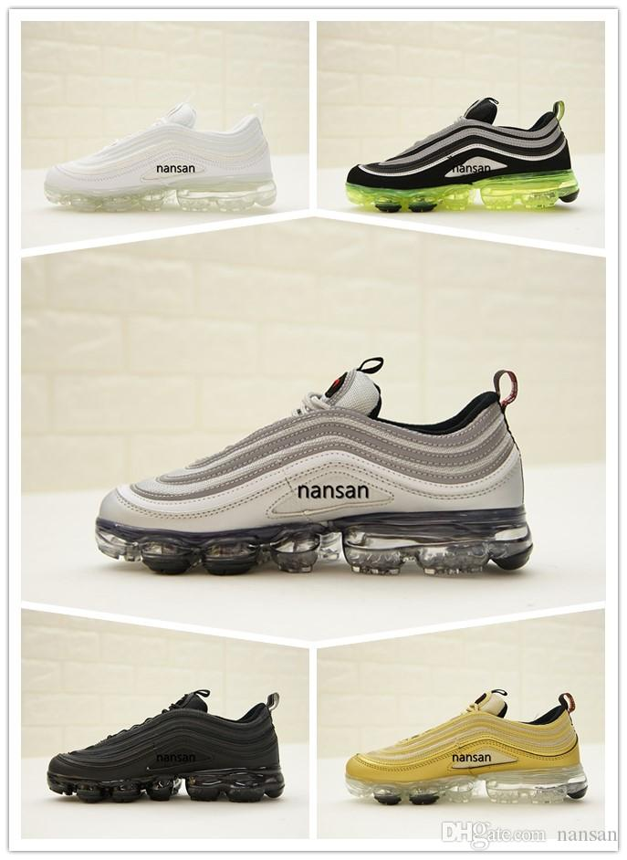 13f8e8c2443ac3 2018 VaporMax 97 Silver Bullet Metallic Gold Neon Running Shoes with ...