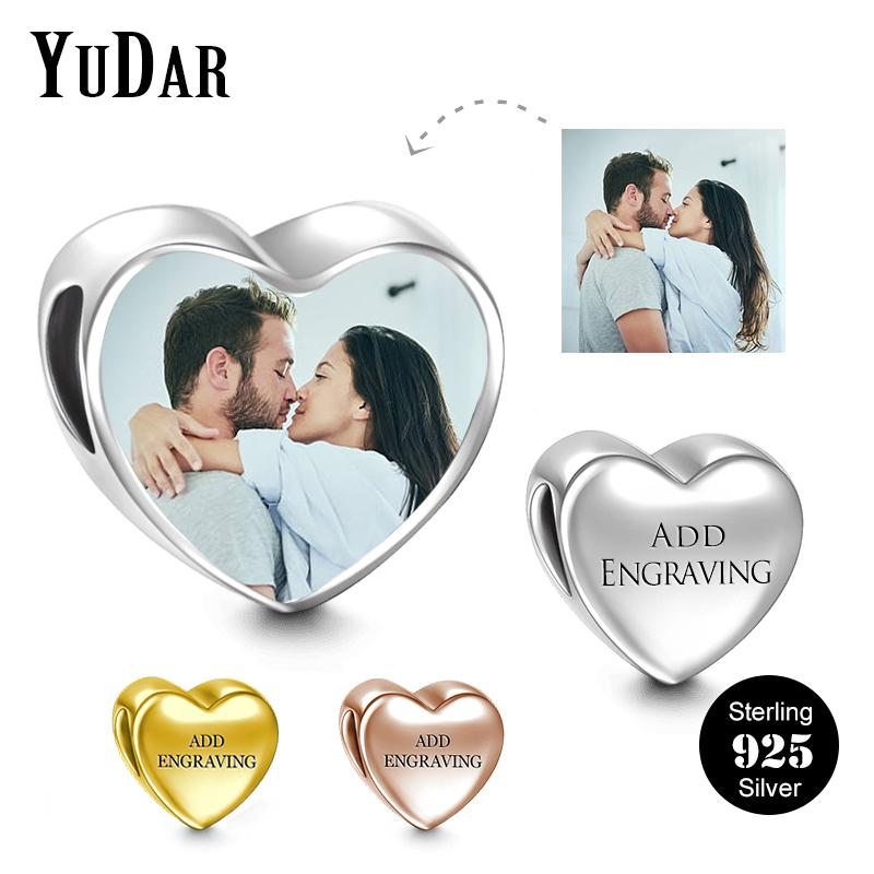 a45ae137d6b09 Personalized 925 Sterling Silver Heart Photo Charm for Bracelet Engravable  Customize Photo Charm Love Bracelet Jewelry YDS-1112