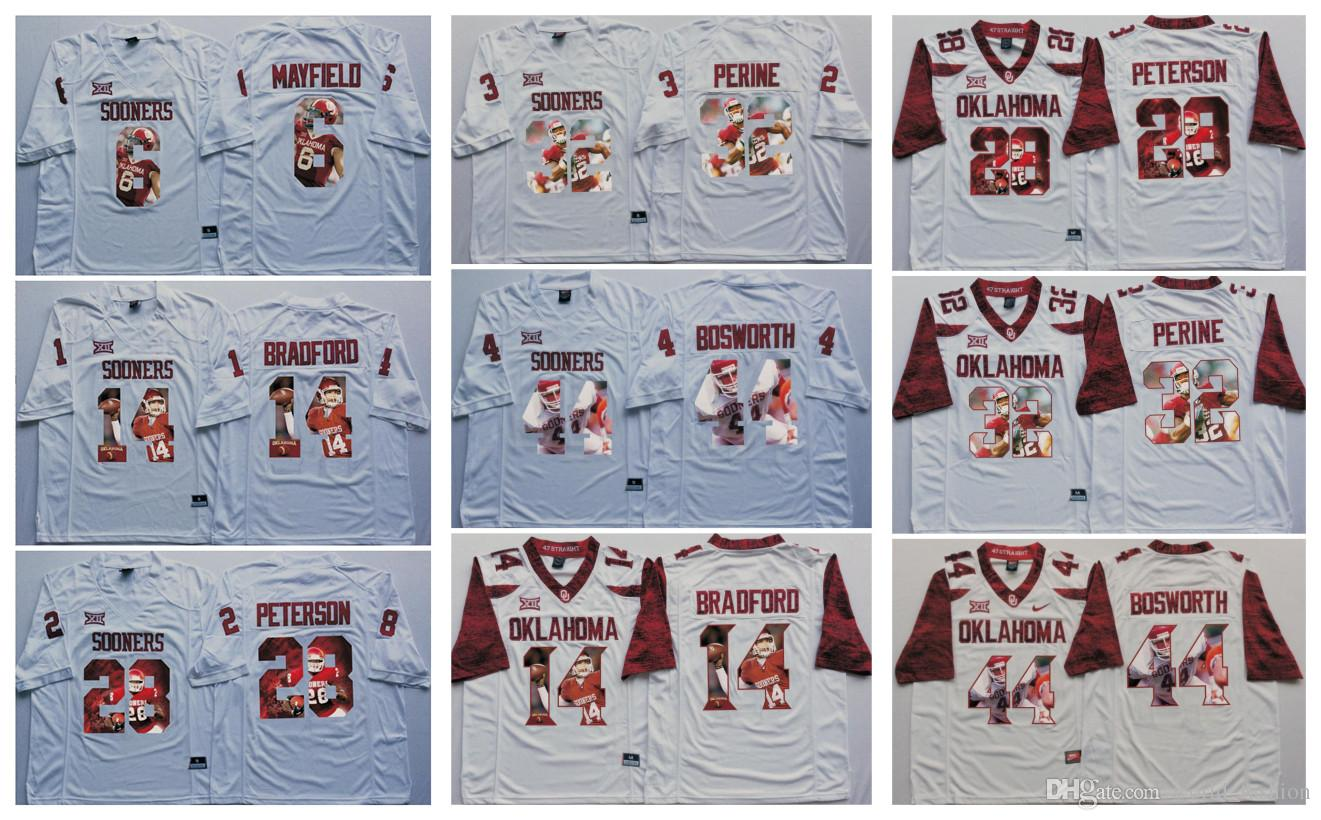 2019 6 Baker Mayfield 32 Samaje Perine 28 Adrian Peterson 44 Brian Bosworth Oklahoma  Sooners Men Jersey Mens College Football Jerseys White From ... 1686afe1e