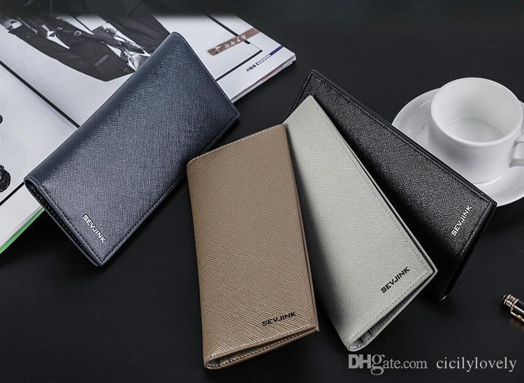 2018 New Famous Brand Genuine Leather Men's Wallets Men Big Capacity handbags Business Clutch Zipper Long Wallet Women Purses