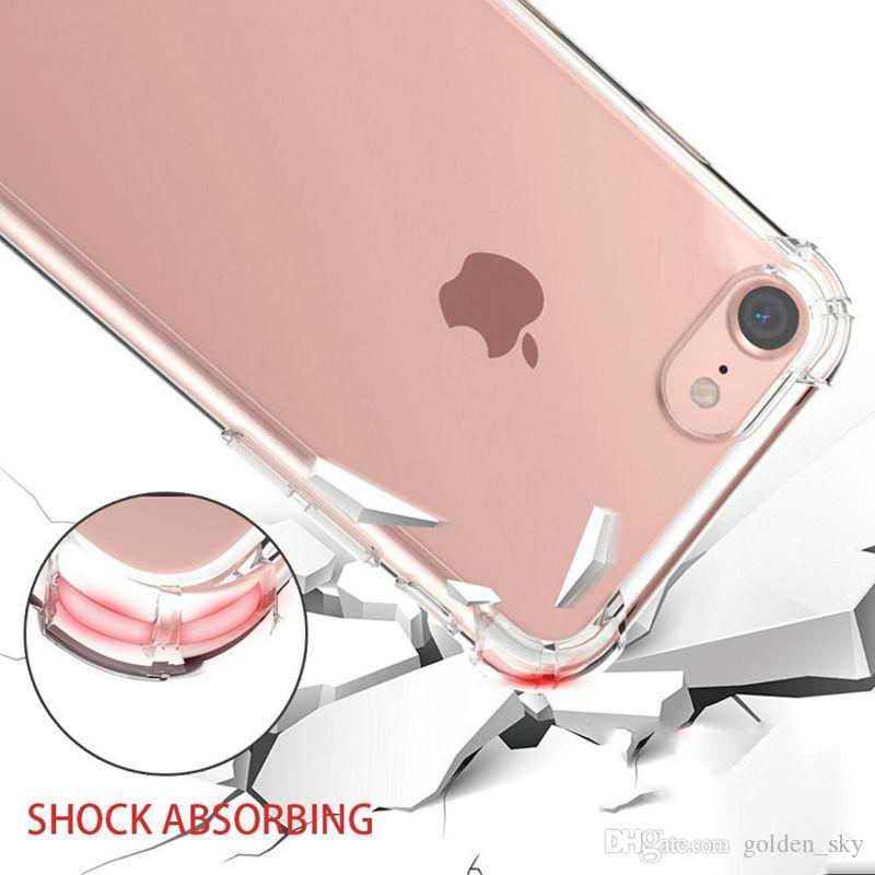 Darbeye Şeffaf Kılıf iphone X XS Max 8 7 Artı Yumuşak Jel TPU Kılıfları Temizle Arka Kapak için Samsung S9 S8Plus