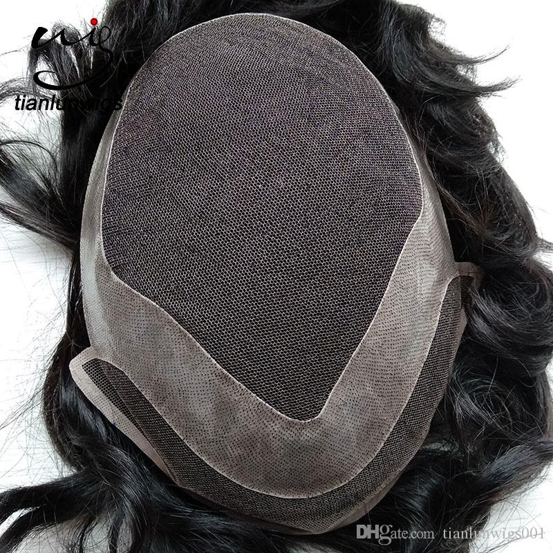Barato Indiano Virgem Do Cabelo Humano Homens Toupee Hair Piece Toupees Para Homens Negros Indiano Homens Peruca de Cabelo Peruca Ordem Personalizada Frete Grátis
