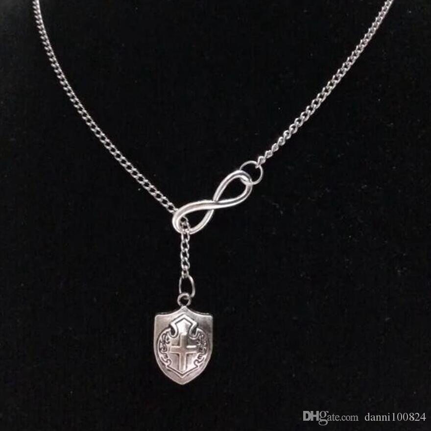 lucky 8& I LOVE MY DOG/Camera/Cross Shield/Cross Vintage silver charm sweater chain necklaceDIY Women jewelry Accessories A54