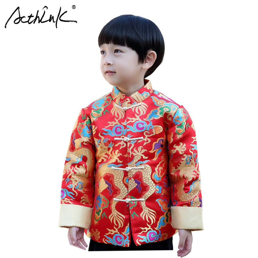 d4bac1a89 ActhInK New Boys Winter Chinese Style Coat Baby Boys Traditional Hanfu  Clothes Dragon Coat Kids Chinese New Year Outerwear Girl Coats On Sale Free  Coats For ...