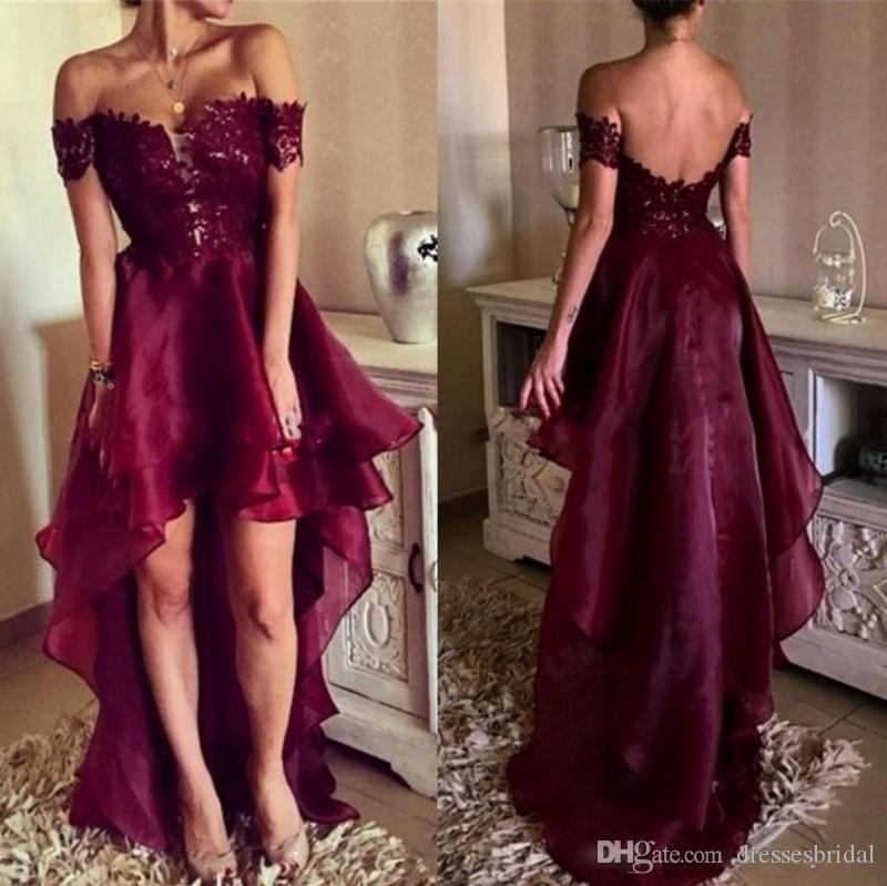 Burgundy Sexy Off-Shoulder A-Line Prom Dresses Short Sleeves Lace Appliques High Low Open Back Long Plus Size Evening Gowns