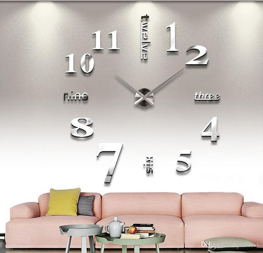 New Modern Diy 3d Wall Clock Super Big Quartz Needle Acrylic Diy ...