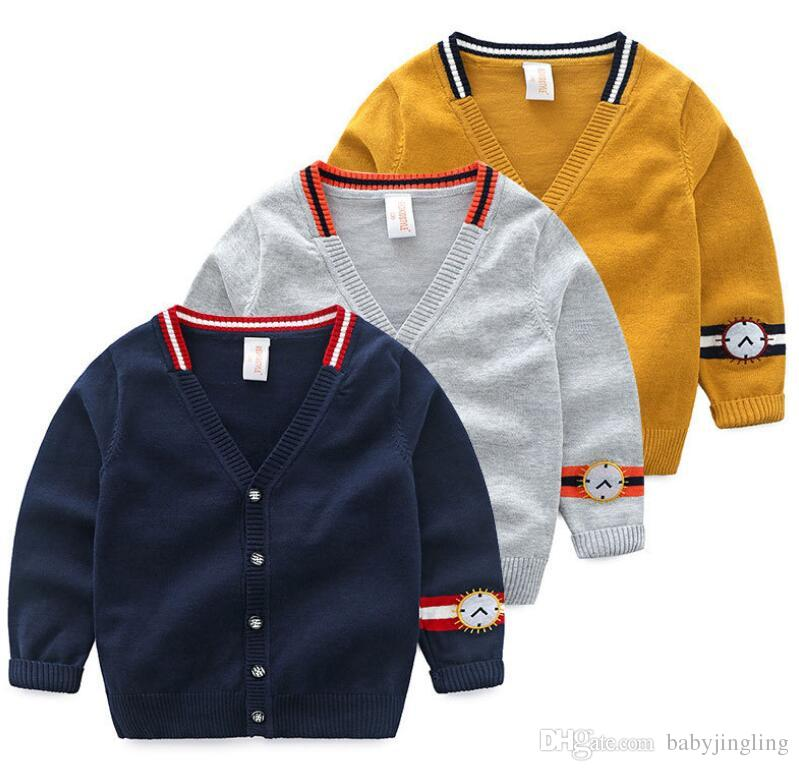 3342f6174542 2019 Spring Autumn Boys Cardigan Baby Clothes Boy Cotton Solid Long ...