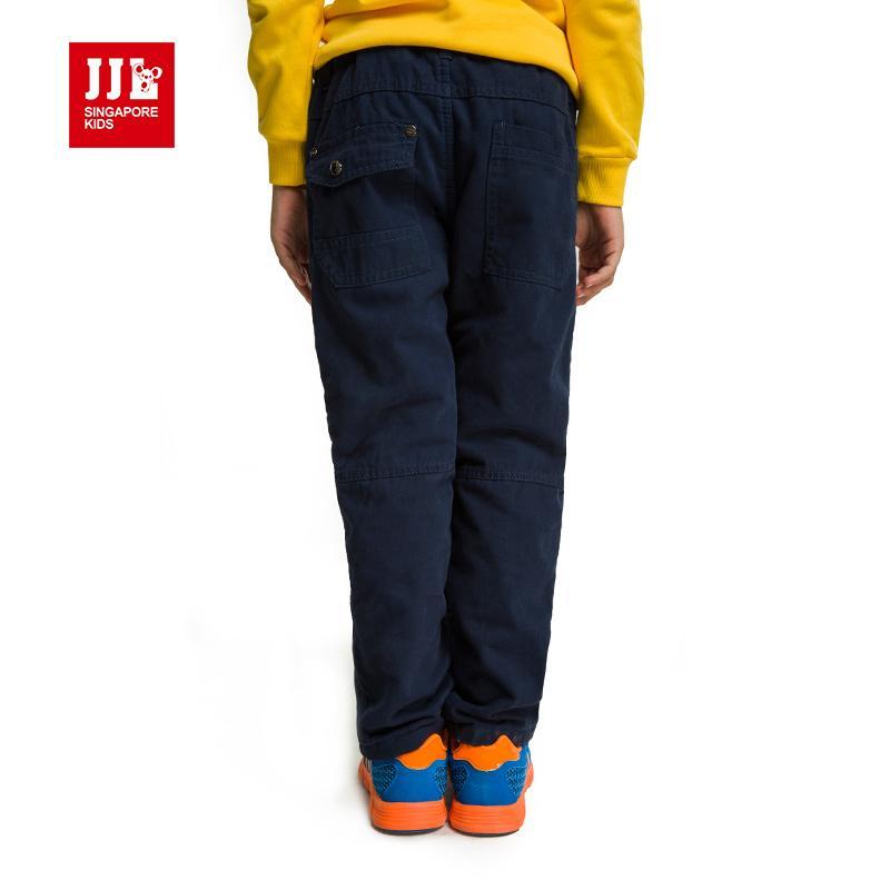boys pants 2016 winter brand elastic waist kids pants straight fleece children trouser boys size 6-15y