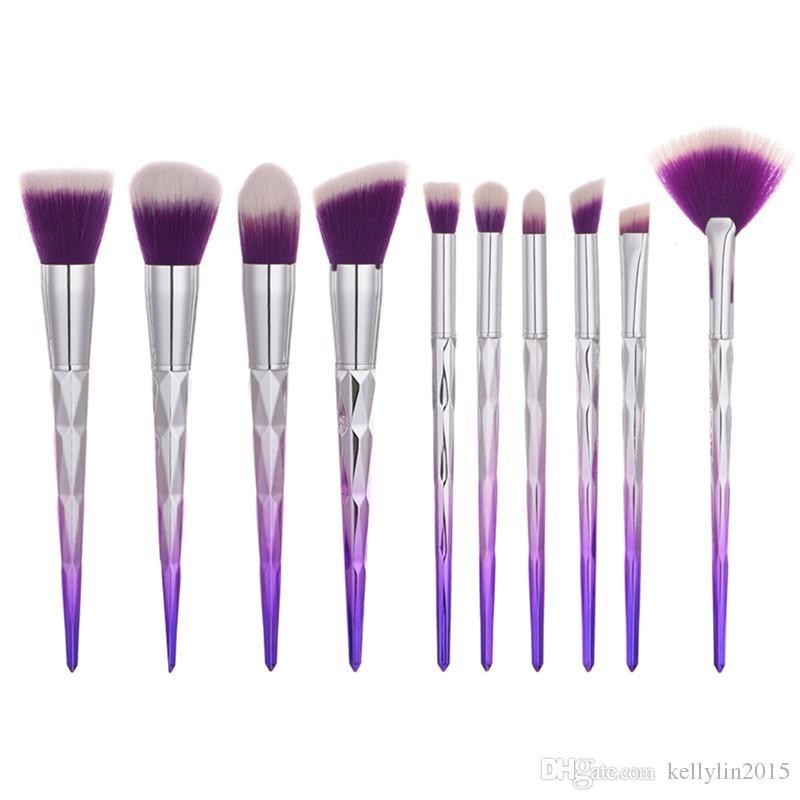 Mermaid Makeup Brush Set Diamond Handle Professional Face Blush Powder Eyeshadow Foundation Lip Make Up Brushes Kit Cosmetic Tools