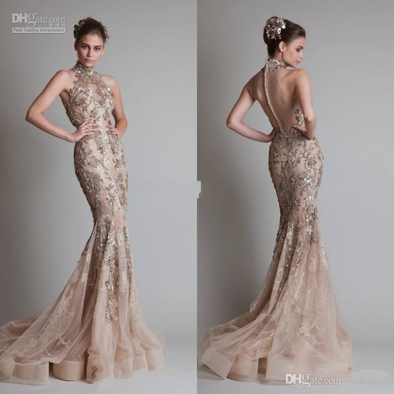 High Neck And Luxurious Silver Appliques Sexy See Through Organza Button Back Mermaid Trumpet Elie Saab Evening Formal Prom Dresses With