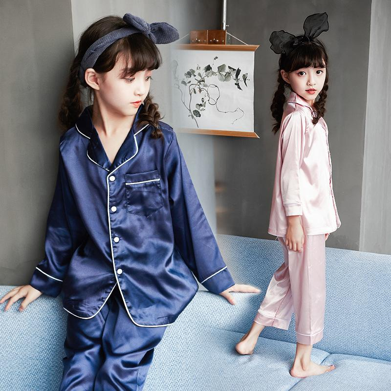 eecf30b2a276 Autumn Girls Boys Fashion Silk Pajamas Sleepwear Soft Pajamas Kids ...