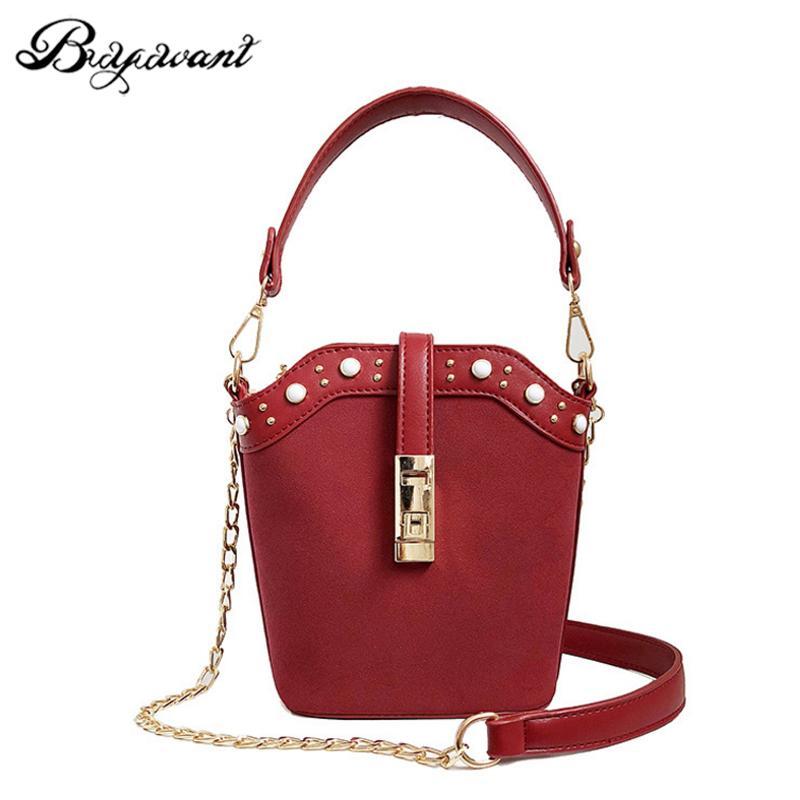 Buyuwant PU Scrub Bucket Bag Female Chain Wild Retro Shoulder Bag ... 38002cf902c66