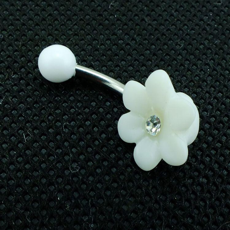 Marka Yeni Moda Belly Button Yüzük Paslanmaz Çelik Bar Beyaz Çiçek Göbek Piercing Takı