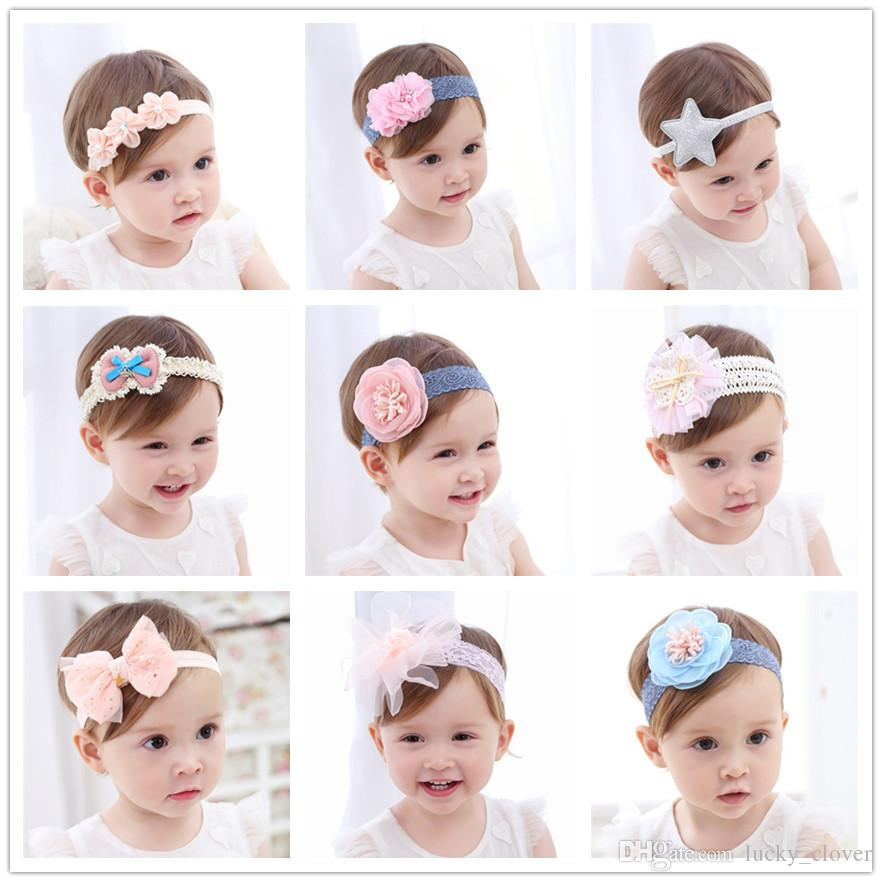 dfc19bd5ebe 21styles Baby Lace Chiffon Flower Headbands Girls Pearl Flower Hairbands  Newborn Kids Infant Children Bowknot Hair Accessories SEN325 Hair  Accessories Baby ...