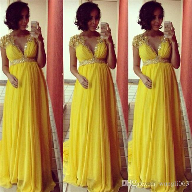 Vestidos de noche de maternidad con cuentas amarillas para las mujeres embarazadas Fiesta formal Vestidos de baile Vestidos de imperio Vestido de alfombra roja de cristal