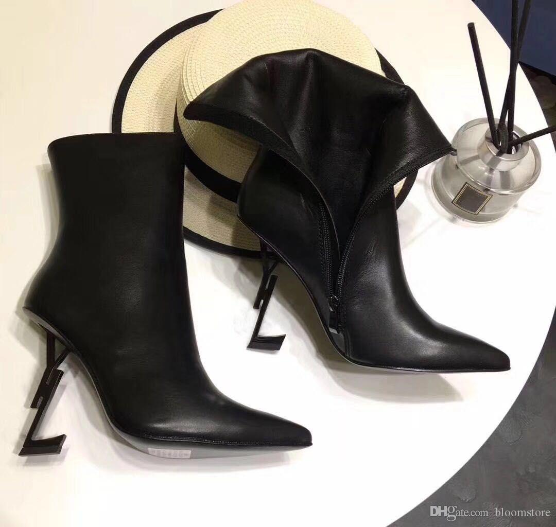 Top Quality Pointed Toe Womens Leather Ankle Boots Black Thrill Letter Heels Pumps Woman High-heeled Dress Wedding Bridal Shoes