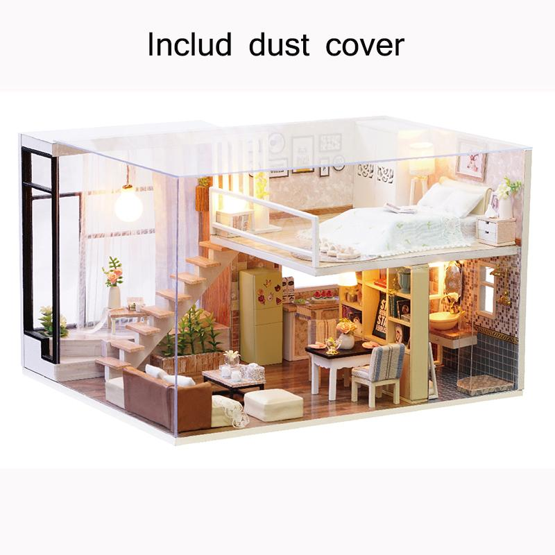 New Dust Cover Furniture Diy Doll House Wooden Miniature Doll Houses  Furniture Kit Box Puzzle Assemble Dollhouse Toys For Gift Victorian Dolls  House ...