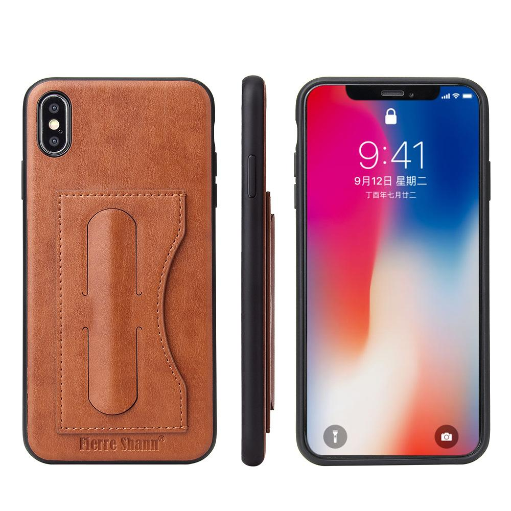 955b5f123b5 Wholesale For IPhone XS XR X Simple Fashion Leather Card Holder Wallet Phone  Back Cover For IPhone X XS Max 6S 7 8 Plus Bracket Case Cell Phone Hard  Cases ...