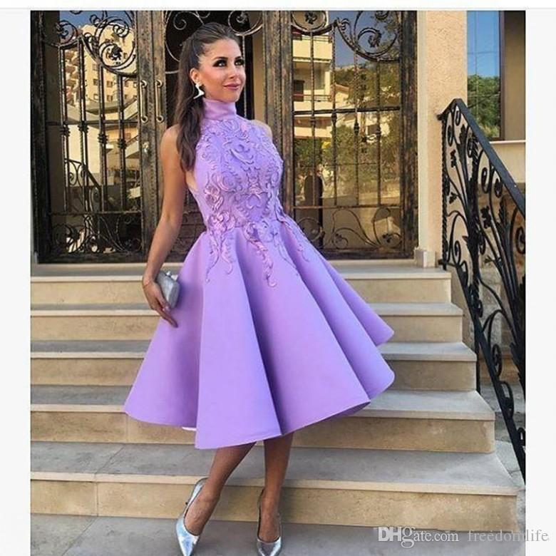ffaad1a63d0f New 2018 High Jewel Neck Puffy Party Dresses Evening Wear Knee Length  Lavender With Appliques Saudi Arabic Lady Prom Dresses Cocktail Gown  Whatchamacallit ...