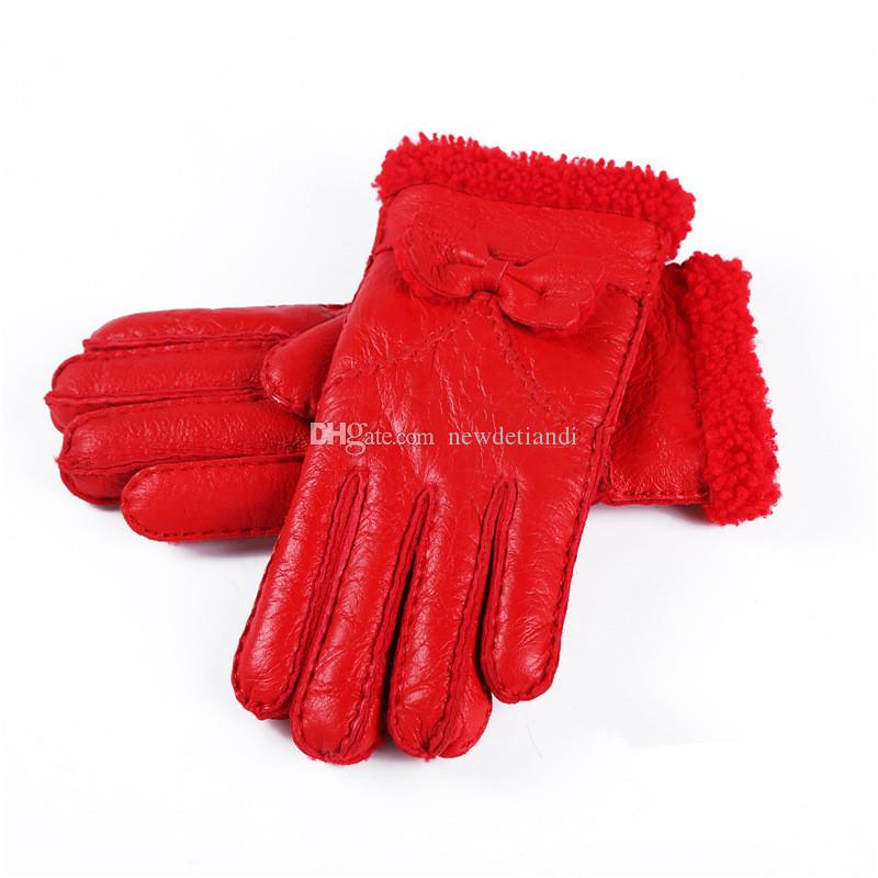 New Ladies Bowknot High Quality Leather Gloves Wool Gloves Quality Assurance