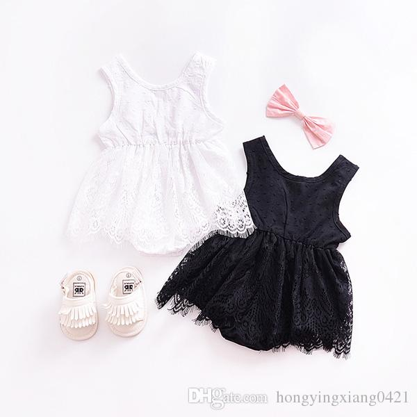 Summer Hot Baby Girl Lace Romper Cotton Lace Leotard Baby Child Climbing Black/White Infant Jumpsuit Summer Backless Babies Clothes KA606