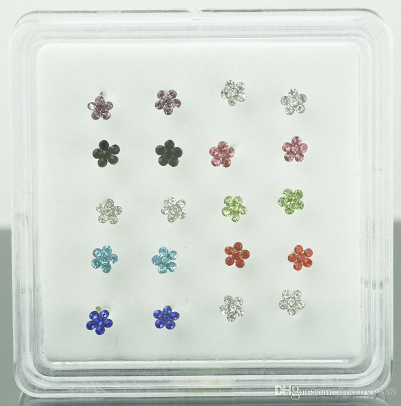 Bijoux de corps de bijoux de gemmes de fleur de bijoux de gemmes de fleur d'argent anneau de nez anneau et les goujons Piercing bijoux / boîte en gros