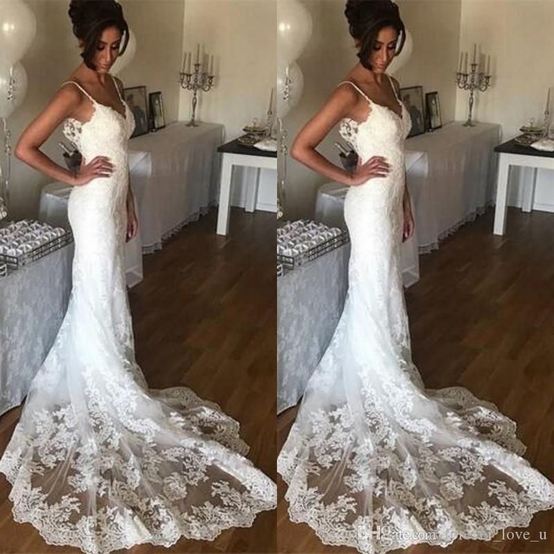1ebf6d6db0b9 2019 Beach Wedding Dresses Spaghetti Straps Open Back Romantic Lace  Appliques Sheath Mermaid Bridal Gowns Custom Made With Court Train  Affordable Wedding ...