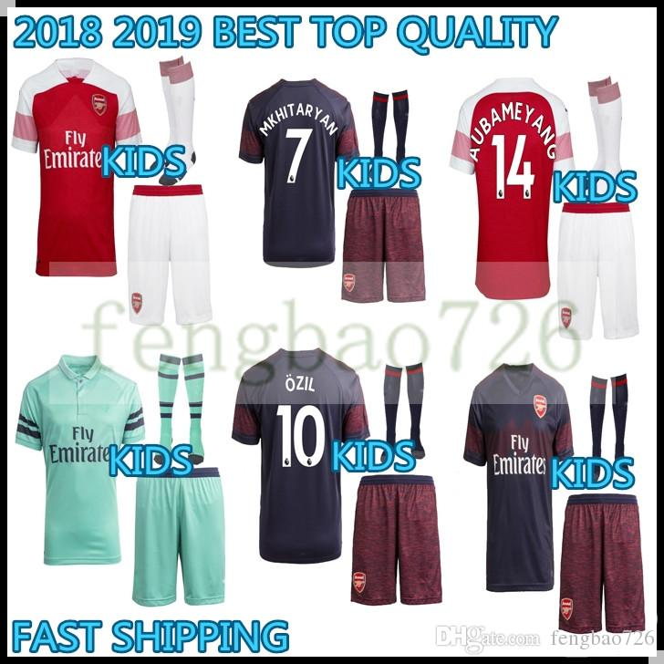 4e8d0dbaa65 KIDS KIT 2018 2019 Arsenal Best Quality Mkhitaryan Soccer Jersey 18 ...