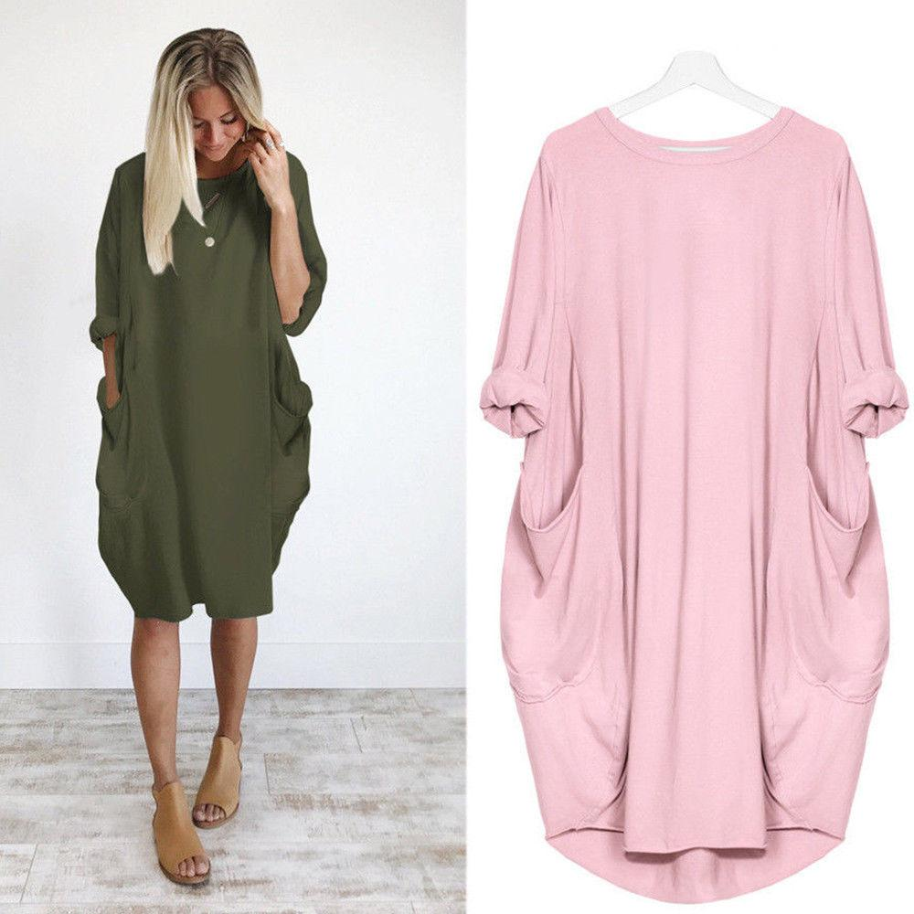 246550932d528 Baggy Shirts Italian Lagenlook Quirky Boho Jersey Soft Cotton Stretch Loose  Pocket Tunic Women Dresses Sleeve Casual Hip Hop