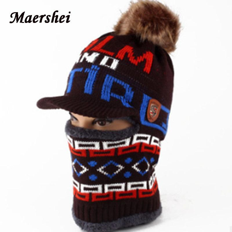 7a0032760a33c MAERSHEI Winter Kids Hat Boys Girls Scarf Knitted Hat Skullies Winter Hats  Caps For Boy Mask Balaclava Bonnet Hats New D18110601 Knit Hat Hats And Caps  From ...