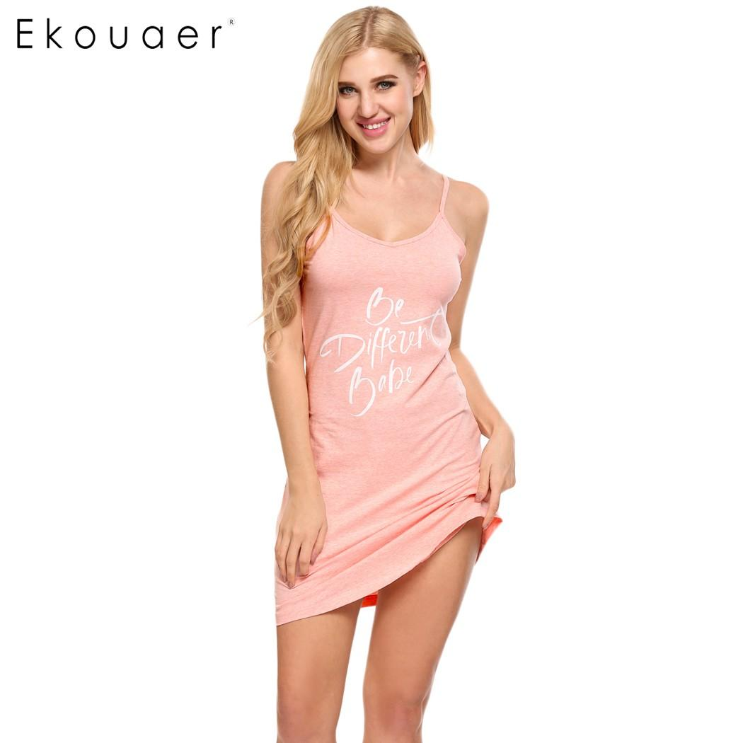 fa71b6d876 2018 Wholesale Ekouaer 2017 Letter Print Nightgown Sleep Lounge Dress  Sleepwear Sexy V Neck Dress Slim Home Clothes Nightwear S M L Xl Xxl From  Fenghuangmu