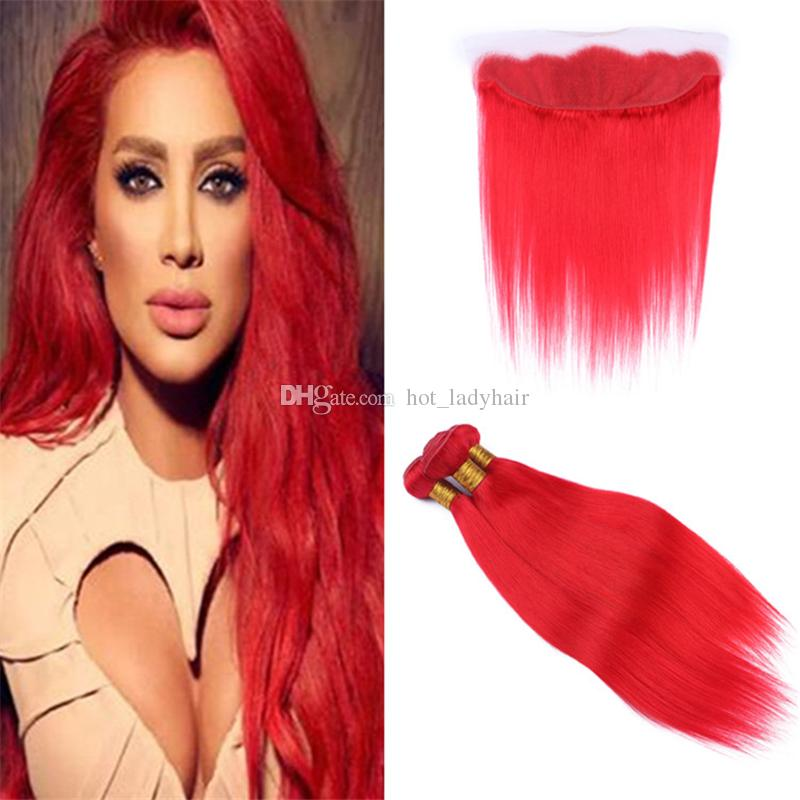 2019 Light Red Color Peruvian Virgin Hair Weave Bundles With Lace