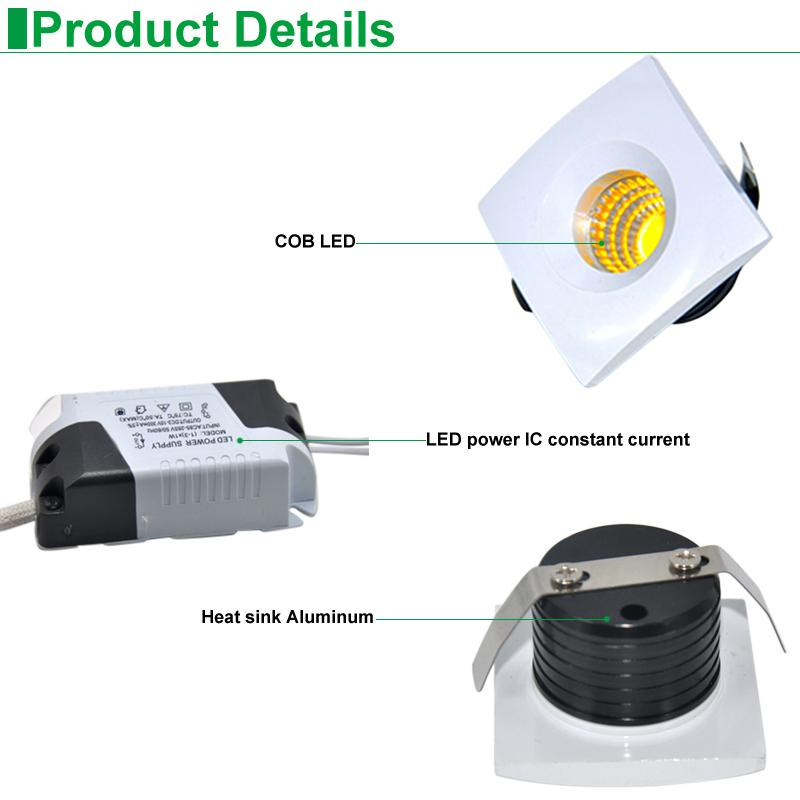 LED Mini Spot COB Recessed Dimmable Downlights 110V 220V Down Lamp for Cabinet Home Lights for showcase Display