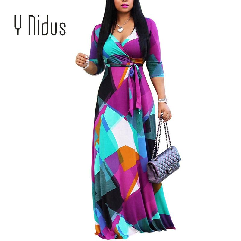 acd0f45557c Women s Dress Summer Autumn Maxi Dress 2018 Geometric Print Chiffon Deep  V-Neck Half Sleeve Flowy Evening Party Dresses Vestidos Dresses Cheap  Dresses ...
