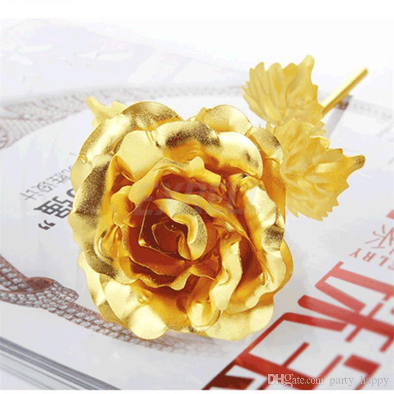 Plated Rose Flower Lover Day Gift Birthday Romantic Golden Flower